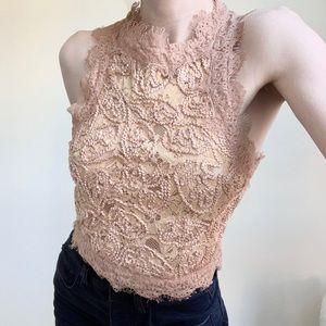 Zara TRF Eyelash Lace Crop Top